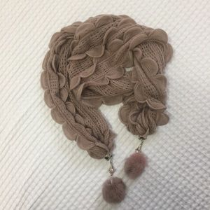 Accessories - Scallop knitted dusty rose scarf with dangles